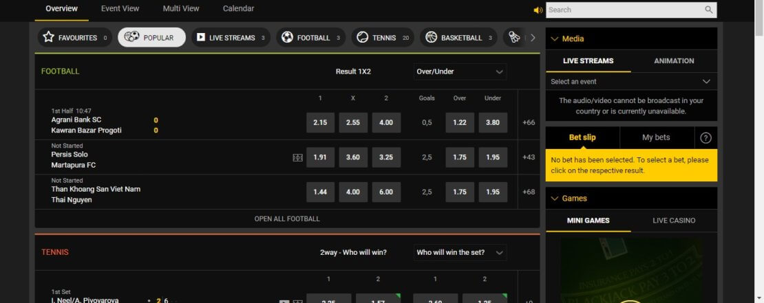 A screenshot of the bwin live betting section