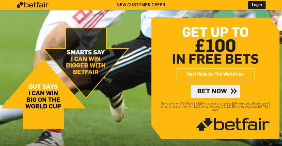 Betfair Promo Code 2020 offer - Get up to £100 in free bets - Terms and conditions apply - Please read above