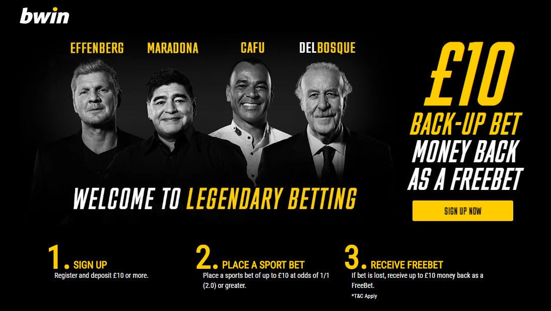 bwin Bonus Code 2020 offer - Welcome to legendary betting - £10 back-up bet money back as a freebet - Clicking on this image will take you to bwin's website - Terms and conditions apply - Please read above