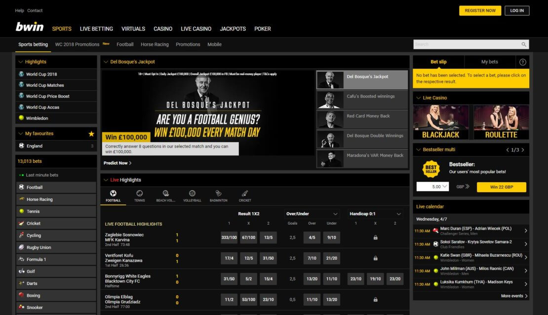 A screenshot of the bwin sportsbook layout